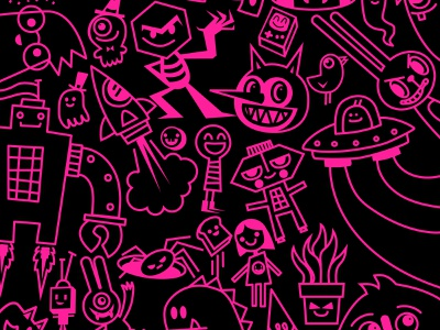 Bits n' Bobs vector illustration vector doodles character design kawaii doodle wotto cute illustration characters doodles vector art pink vector