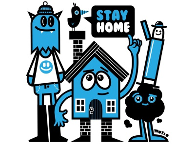 STAY HOME! characterdesign cute characters covid monster house chararacter home house pandemic covid19 stay home