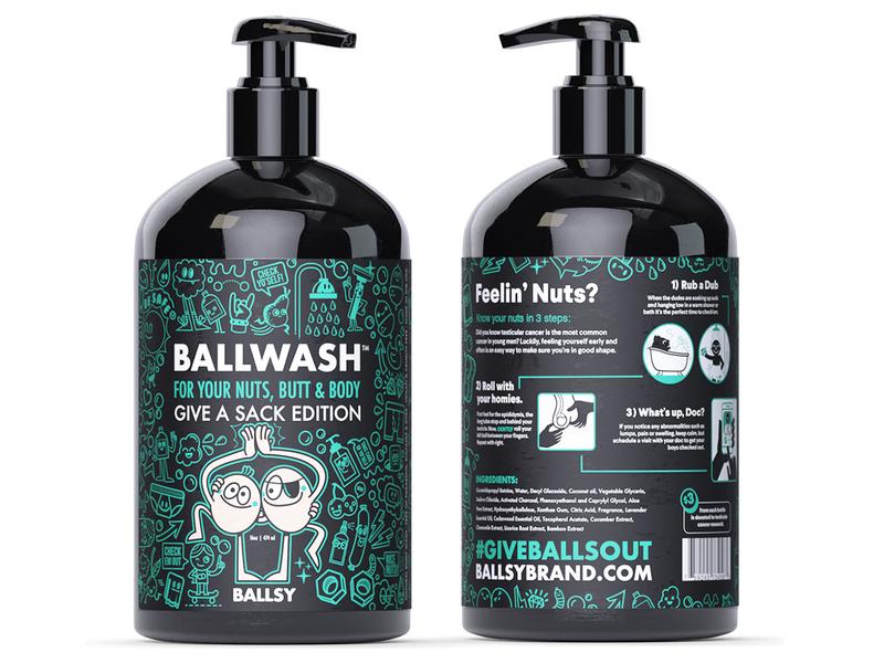 Ballsy Ballwash balls doodle art product design health products character design doodles vector bottle packaging cancer awareness ball wash ballsy