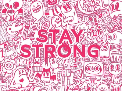 Stay Strong Illustration doodle art hand drawn drawn sketches drawing pink character design character art doodle doodles stay home stay strong