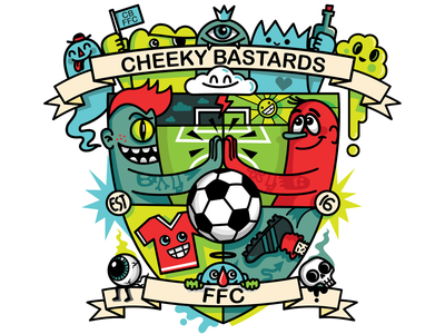 Cheeky Bastards FFC Shield wotto character design unique shield logo illustration vector characters logo design bastards cheeky logo shield