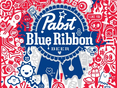 Pabst Blue Ribbon Entry wotto digital doodle characters vector doodles beer beer design can design beer can packaging pabst