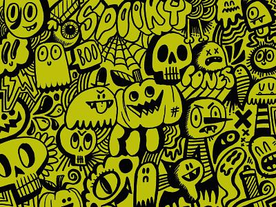 Spooky Doodles ghost jack o lantern pumpkins doodles illustration characters creepy skulls ghosts mpkins halloween
