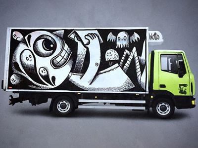 TYOTOYS Truck characters books reading streetart graffitti truck wrap graffiti toys truck
