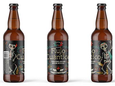 Flujo Cuántico Final Bottle Design day of the dead can art mexican art calavera skull beer design beer bottle beer