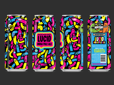Lucid IPA - Final Can Design psychadelic design for beer beer can design neon can worms can art beer packaging packagaing can design neon