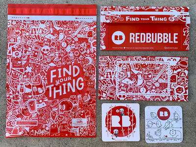 Final Redbubble Packaging Design red bag redbubble branding doodle design doodle art doodles envelope packaging design packagedesign