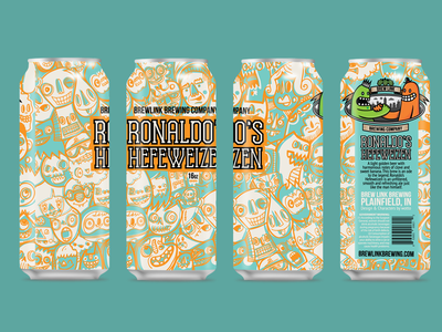 Ronaldo's Hefeweizen - Final Can Design packaging vector faces beer cab design beer can craft beer craft brewing can design
