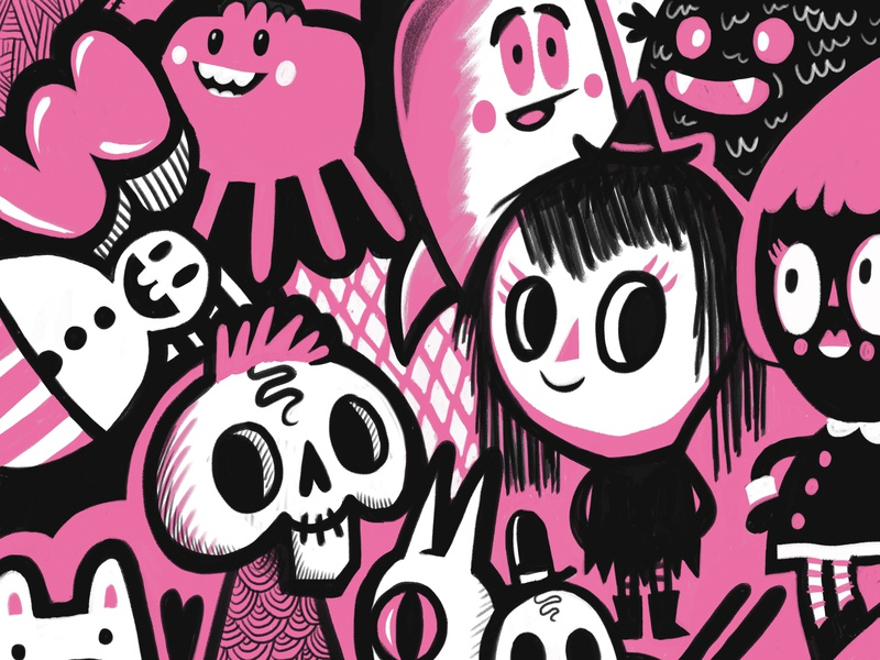 Pink Doodles character art character concept characters design black girl skull characters doodles pink