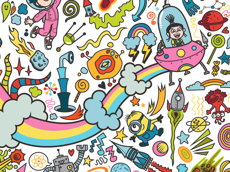 Minions Interactive Coloring Wall rocket ship coloring illustration rainbow space ship space minions doodles