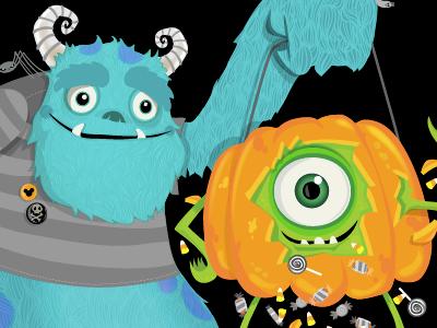 Pixar Halloween Illustration pixar pixartimes wotto monsters inc wotto art illustration digital mike and sully pixar art pixar fan art halloween fun cute