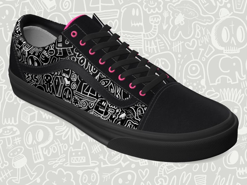Vans custom shoes. branding design illustration character design wotto doodle doodles vans shoes skateboarding skateboarder custom shoes vans