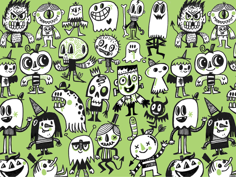 Halloween 2019 pattern character wotto cute character design characters illustration hand drawn ghoul bat witch zombie skull ghost halloween