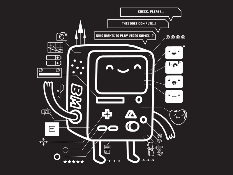 Adventure Time BMO T-shirt design illustration apparel design schematic cute vector balck and white cartoon network tee design t-shirt adventure time bmo