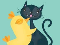 Like Birds and Cats - Greetings card