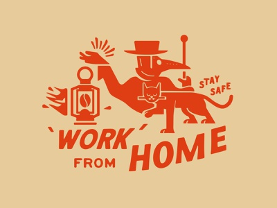 Stay Safe art cat coffee plague packaging brand lettering retro design branding vintage safe stay home from work concept logo covid-19 illustration