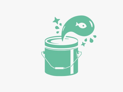 Tiny Fish Printing typography fish texture type bucket paint can font exploration lockup badge art brand vintage identity lettering concept design branding screen printing illustration