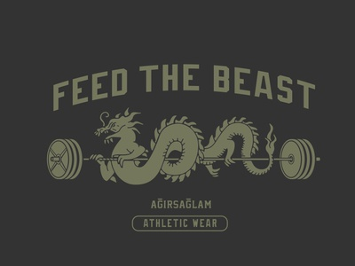 Feed The Beast athletic collection apparel merch tshirt tee lock up vector branding illustration logo mascot retro vintage weights room weight barbell eastern dragon
