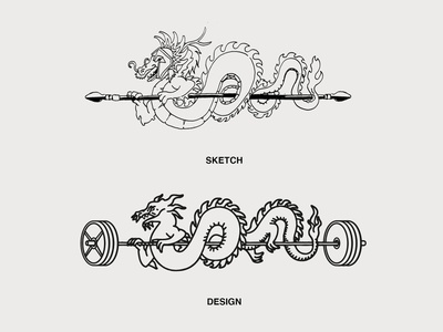 Dragon Illustration Process collab merch gym bodybuilding fitness typography vintage concept logo identity design branding illustration design barbell weights illustration paper pen sketch process