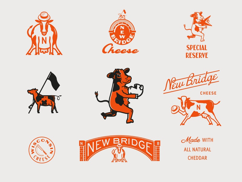 Brand Exploration For NB Cheese mark orange badge mascot character cartoon mascot logo animal cow cheese typography logo retro vintage concept identity design lettering branding mascot illustration
