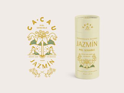 Cacau Jazmín sustainable vector identity lettering typography concept logo branding design yellow cream retro vintage container tube packaging jasmine plant illustration