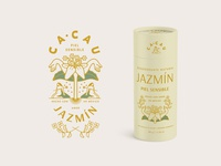 Cacau Jazmín sustainable vector identity lettering typography concept logo branding design yellow cream retro vintage container tube packaging jasmine plant illustration