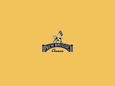 New Bridge Cheese Branding atlanta studio food video animation typography design concept identity packaging lettering retro logo illustration cow bridge branding yellow mascot cheese