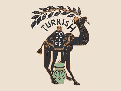 Turkish Coffee Camel typography branding design logodesign logo lettering identity bohem vintage branding packaging urn arabica east middle mascot ottoman turkish coffee camel illustration