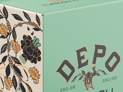 Depo Turkish Coffee template bleed dieline evil eye green typography retro vintage logo identity branding design illustration plant pattern floral ornament camel coffee collab