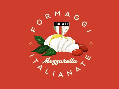 Briati Mozzarella brush painting pixel artist art art deco ornament trend typography packaging realistic retro vintage concept logo identity branding design illustration cheese