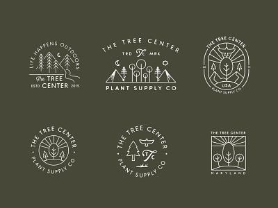 The Tree Center Badges identity concept branding illustration retro moon sun supply adventure nature bird eagle tree logo logos icon badge logo mark lockup badge