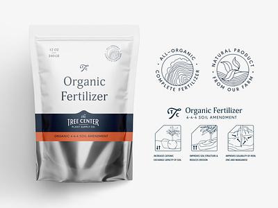 TTC Organic Fertilizer Bag leaf badge typography ui label packaging branding color illustrations instructions vector concept identity minimal mylo label packaging farm fertilizer pouch bag