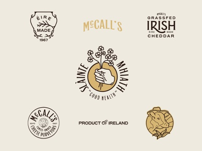 McCall's Irish Cheddar Exploration graphic design identity logotype logo vector packaging icon lettering retro ireland irish cheese cream badge type typography branding design illustration branding
