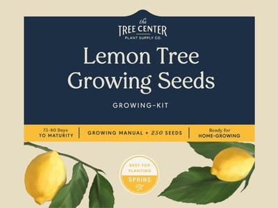 Lemon Tree Growing Seeds Label color team studio brand icon lettering logo identity branding typography illustrator illustration art concept contemporary retro vintage spring packaging label