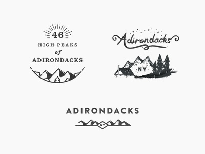 Adirondack Supply Co. Exploration brand logo mountain design art custom type illustration lettering t-shirt badge apparel