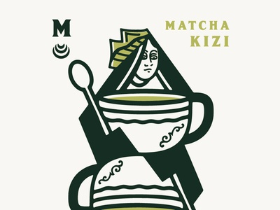 Queen of Matcha's drawing concept art design branding card icon illustration queen cards latte matcha