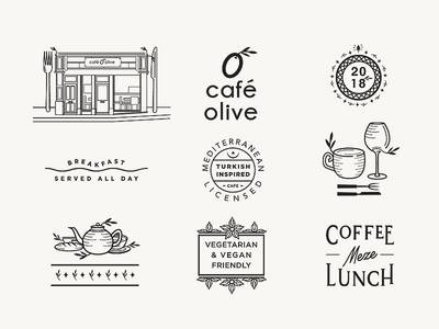 Cafe Olive Menu Assets assets art concept design logo branding identity illustration vegan vegetarian cafe menu