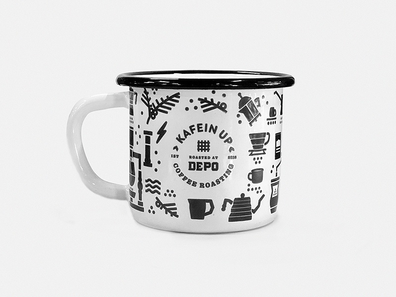 Enamel attach zeki michael mug design full pattern cool contemporary icon logo branding illustration