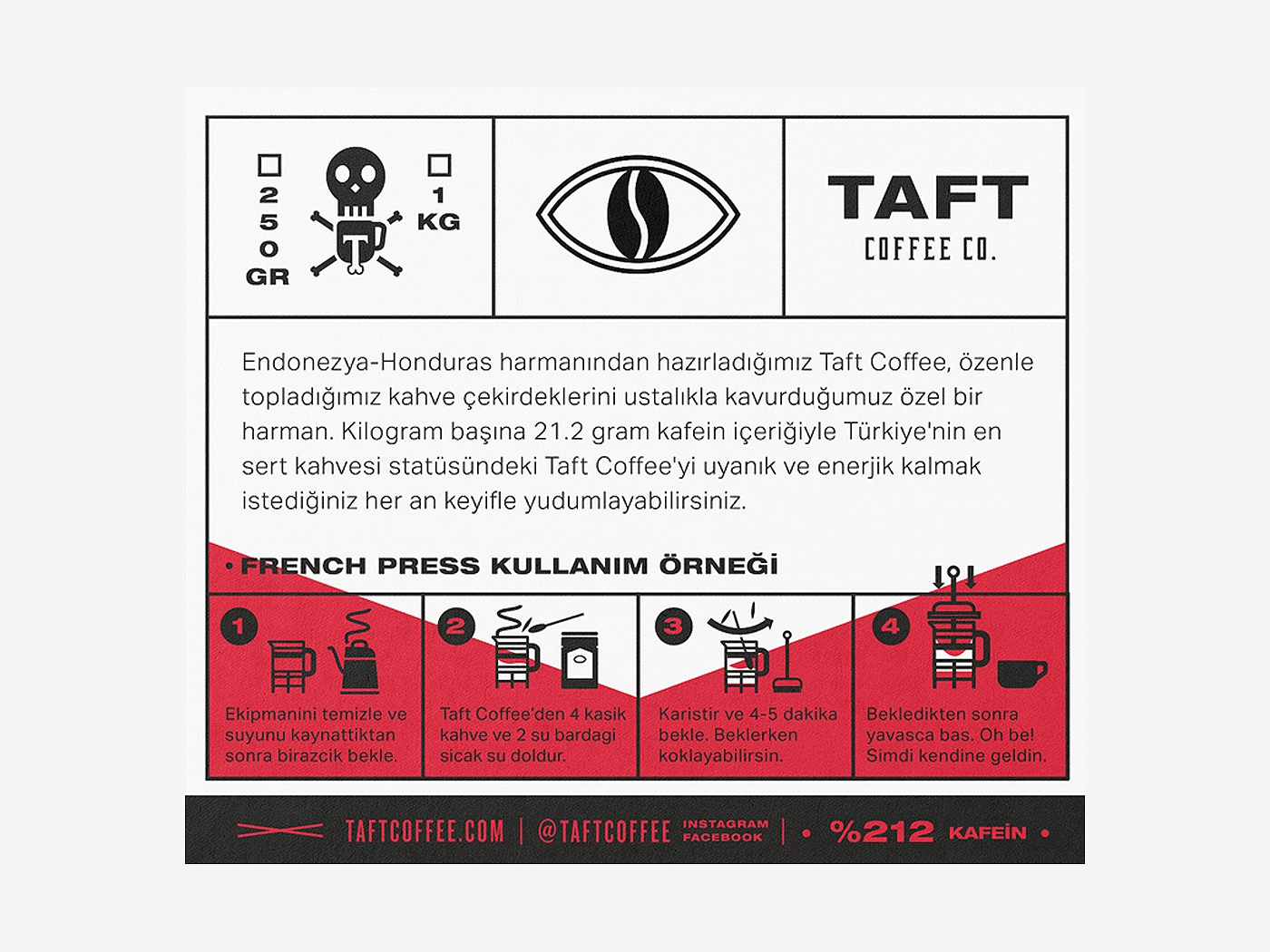 Taft Coffee Co Brewing Instructions Type Istanbul Label Vector Ideny Typography Brand Packaging Color