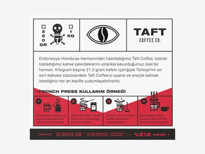 Taft Coffee Co. Brewing Instructions type istanbul label vector identity typography brand packaging coffee color badge danger retro vintage art lettering logo branding design illustration