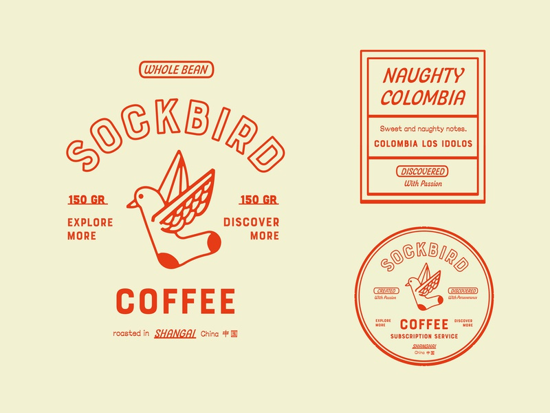 Sockbird Coffee Bag Specimen icon concept typography branding brand badge packaging lettering logo roaster coffee lock-up bird orange minimal illustration vintage retro china identity