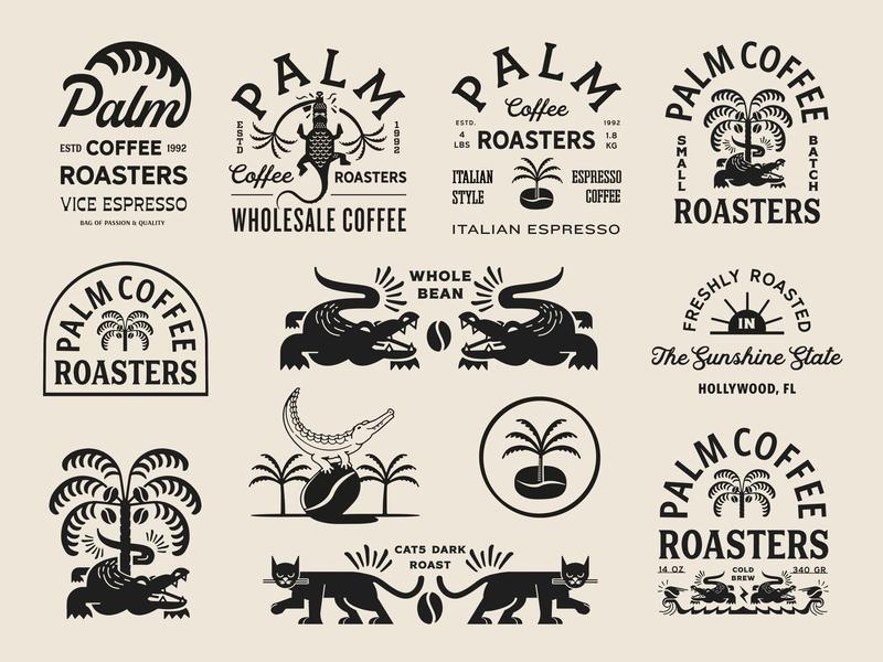 Palm Coffee Roasters Brand Exploration minimal vector typography badge packaging coffee retro design icon branding states florida illustration vintage craft logo identity visual exploration brand