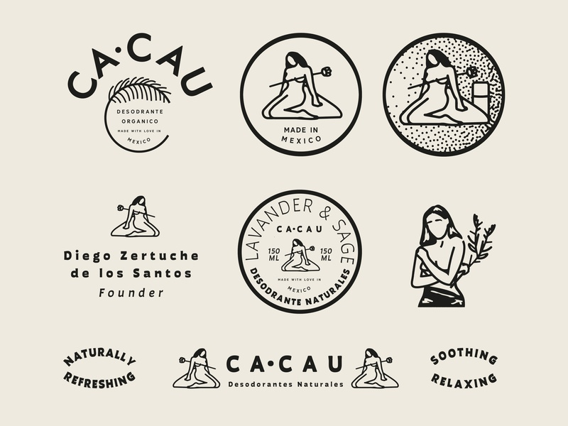 CA·CAU Brand Exploration lettering brand badge vector illustration icon concept art packaging woman deodrant nature retro vintage logo identity design typography exploration branding