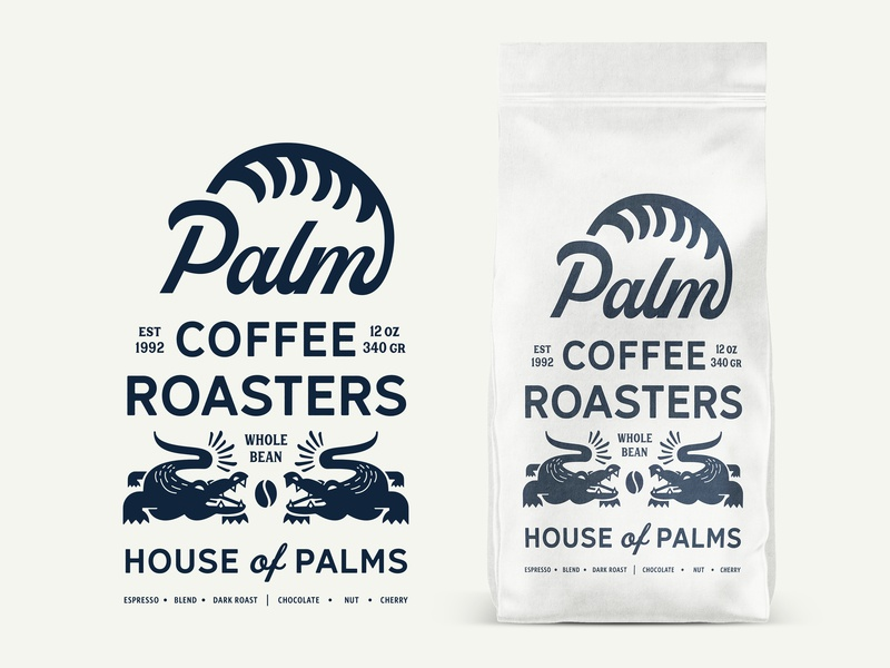 Palm Coffee Roasters House Packaging alligator florida label minimal icon art logo identity concept craft brand packaging coffee retro lettering vintage typography illustration design branding