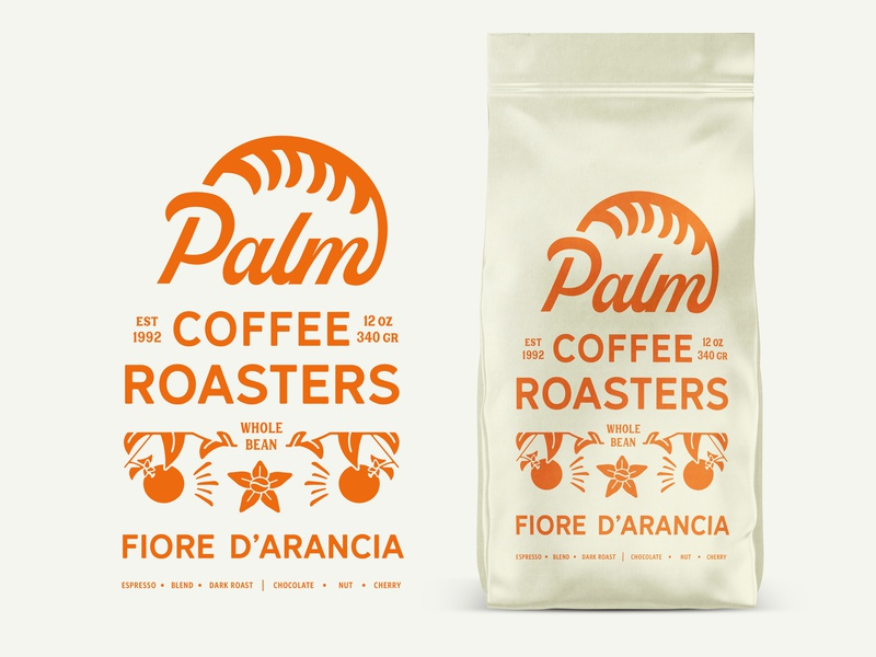 Palm Coffee Roasters Orange Blossom roaster label retro typography badge identity logo lettering vector brand packaging art concept design branding vintage coffee orange illustration