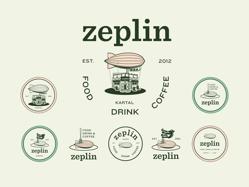 Zeplin Kartal label liqueur alcohol craft brand beverage zeppelin badge coffee retro vintage concept identity design logo icon branding beer pub illustration