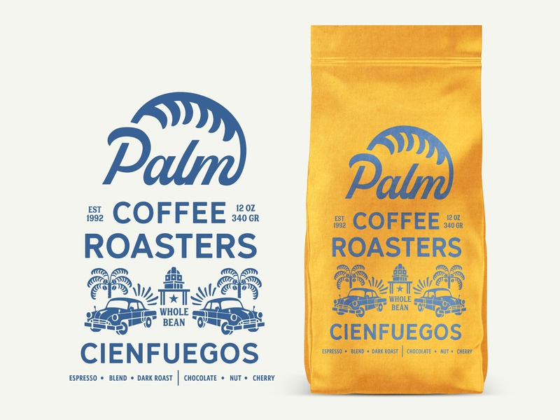 Palm Coffee Roasters Latin Espresso minimal craft lettering icon vector badge packaging coffee art retro vintage typography identity logo design branding espresso latin cuban illustration