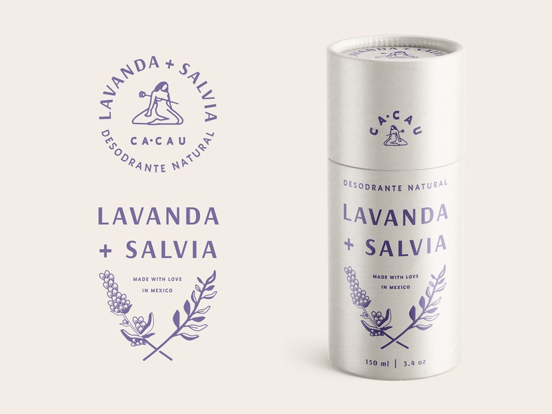 CA·CAU Desodrante Natural lavender deodorant skincare shampoo concept brand lettering logo typography floral retro vintage cosmetics beauty organic sage packaging branding identity illustration