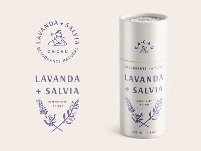 CA·CAU Desodrante Natural lavender deodorant skincare shampoo concept brand lettering logo typography floral retro vintage cosmetics beauty organic sage packaging branding identity illustration