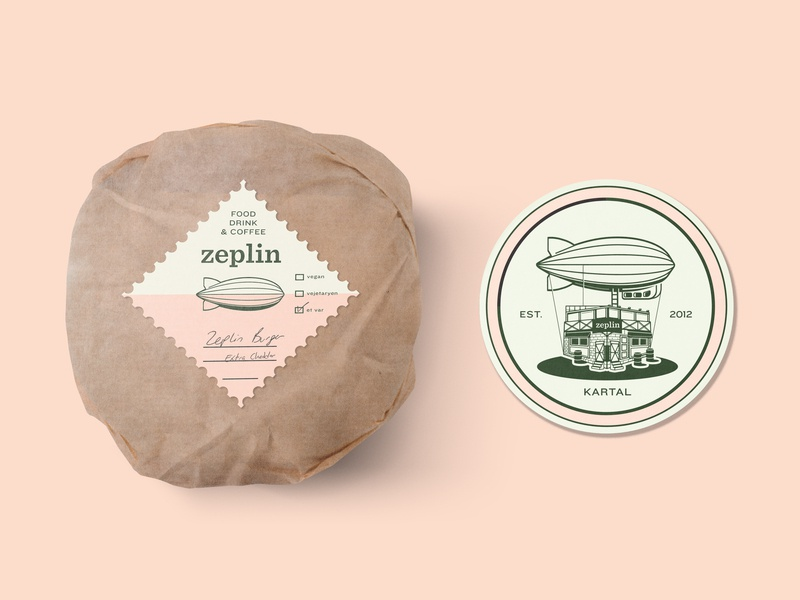 Zeplin Burger Wrap & Coaster color minimal brand label craft beer pub burger logo icon packaging concept design illustration typography retro vintage identity branding coaster